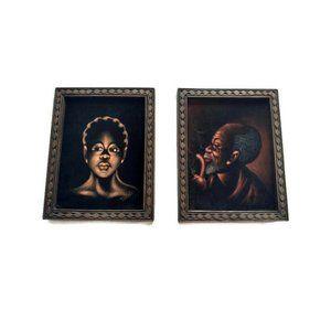 Set of Vintage Velvet African Paintings Signed
